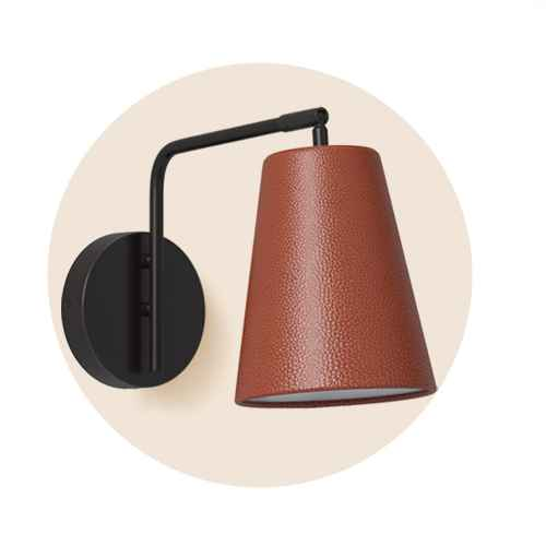 Covington Faux Leather Sconce Brown (Includes LED Light Bulb) - Threshold™