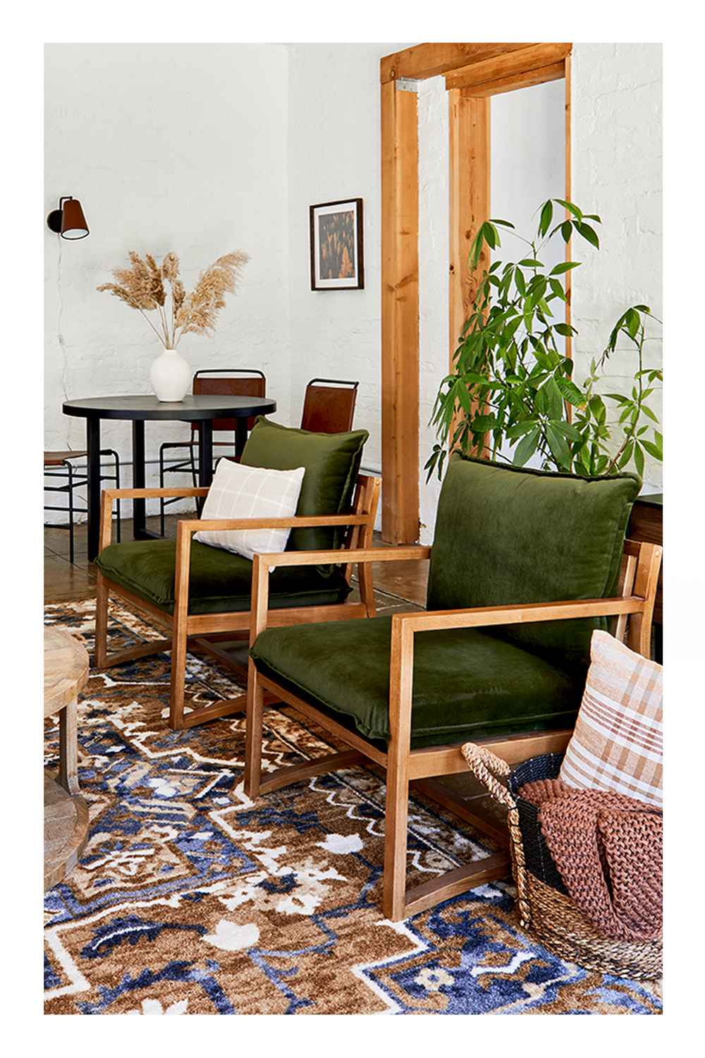 """5'x7' Printed Persian Geometric Design Tufted Area Rugs Gold - Threshold™, Castalia Round Natural Wood Coffee Table - Threshold™, 14oz Lidded Amber Glass Jar Crackling Wooden 3-Wick Applewood and Amber Candle - Threshold™, 7"""" x 7"""" Earthenware Fall Edit Texture Vase White - Threshold™, 28"""" Artificial Hops Stem - Threshold™, Metal 2-in-1 Wire Basket with Wood Handle Black - Project 62™, Higgins Sling Arm Chair Olive Velvet - Threshold™, Oblong Woven Yarn Dye Plaid Decorative Throw Pillow Cream/Caramel - Threshold™, Nep Yarn Knit Throw Blanket Brown - Threshold™, Block Basket Black - Threshold™, Ward Faux Leather Sling Metal Dining Chair Caramel - Threshold™, 10"""" x 8.5"""" Earthenware Fall Texture Vase White - Threshold™, 30"""" x 2"""" Artificial Giant Reed Arrangement Stem - Threshold™, 20"""" x 20"""" Fall Trees Framed Wall Art - Threshold™, Covington Faux Leather Sconce Brown (Includes LED Light Bulb) - Threshold™, 68"""" Wide Wood 5 Shelf Bookcase Natural - Threshold™, 11""""x4"""" Set of 3 Tapers Metal Candle Holder Black - Threshold™, 20"""" x 16"""" Mountains Framed Wall Canvas - Threshold™, 11"""" Medium Coiled Rope Basket Gray Charcoal - Threshold™, 6.6"""" x 5.5"""" Rolling Harvest Squirrel Figurine Gold - Threshold™, 10"""" x 10"""" Goldenrod Artificial Plant Arrangement Yellow - Threshold™, 13"""" Medium Coiled Rope Basket Gray Charcoal - Threshold™, 36"""" x 18"""" Artificial Monstera Plant in Ceramic Planter White - LCG Florals"""