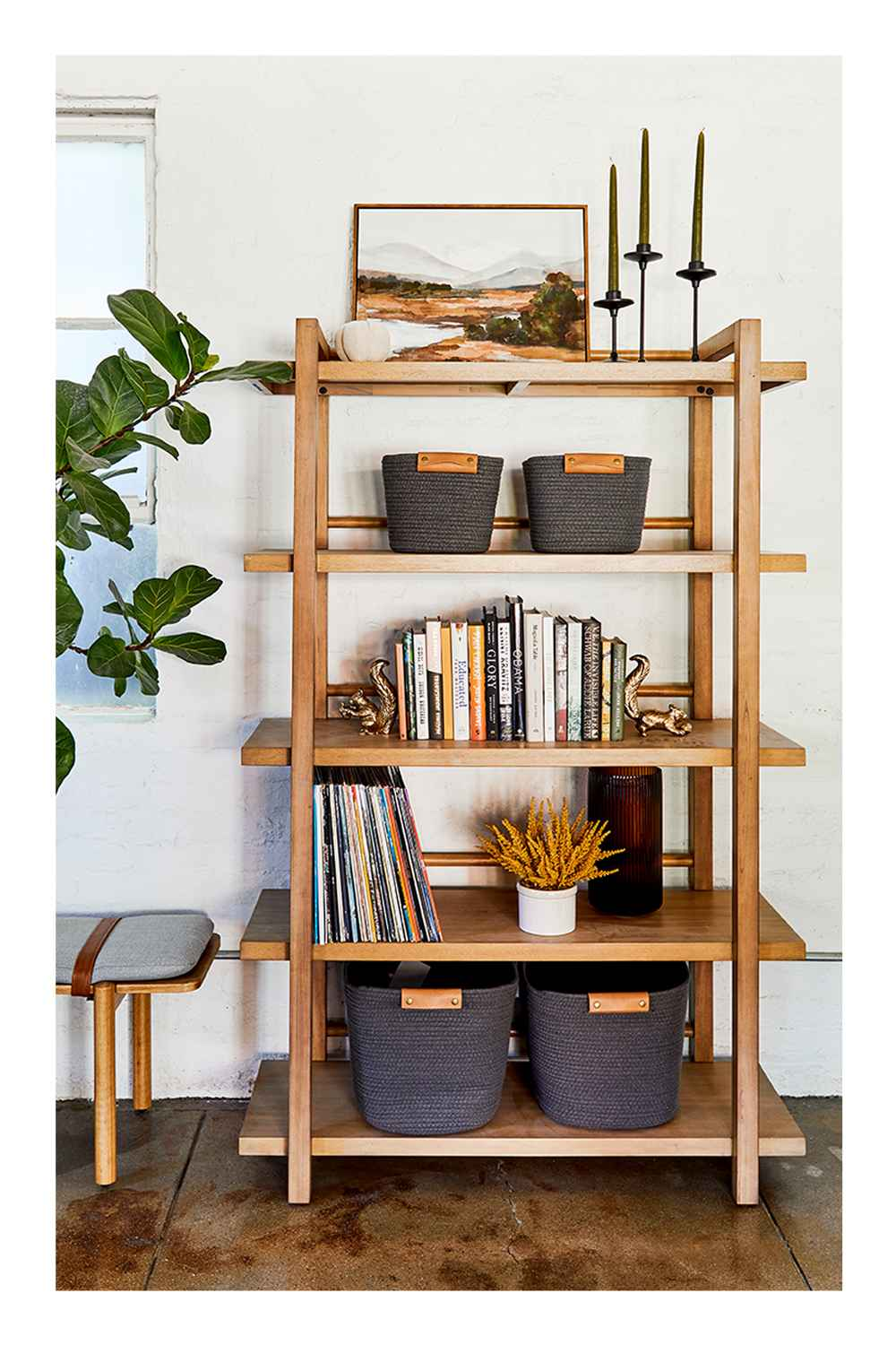 """68"""" Wide Wood 5 Shelf Bookcase Natural - Threshold™, 11""""x4"""" Set of 3 Tapers Metal Candle Holder Black - Threshold™, 20"""" x 16"""" Mountains Framed Wall Canvas - Threshold™, 4"""" x 4"""" Fabric Pumpkin Figurine Cream - Threshold™, 6.6"""" x 5.5"""" Rolling Harvest Squirrel Figurine Gold - Threshold™, 11"""" Medium Coiled Rope Basket Gray Charcoal - Threshold™, 13"""" Medium Coiled Rope Basket Gray Charcoal - Threshold™, Evertson Modern Strap Bench Gray - Project 62™, 36"""" x 18"""" Artificial Monstera Plant in Ceramic Planter White - LCG Florals"""