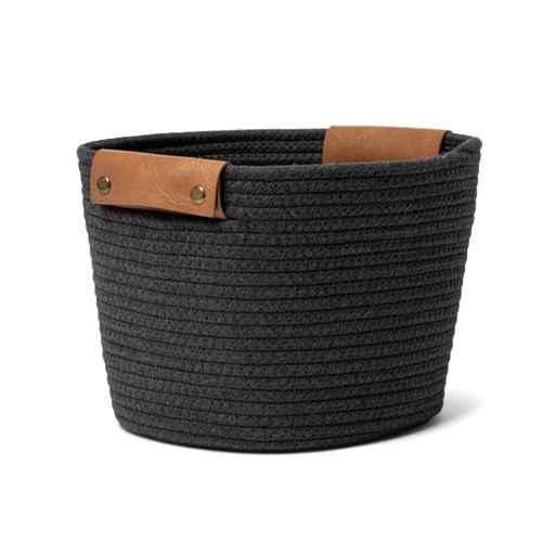 "11"" Medium Coiled Rope Basket Gray Charcoal - Threshold™"