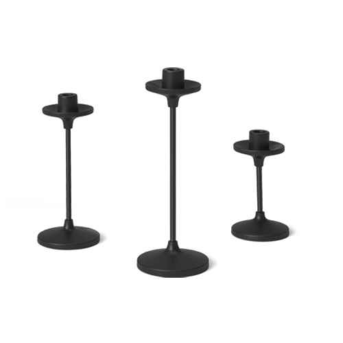 """11""""x4"""" Set of 3 Tapers Metal Candle Holder Black - Threshold™"""