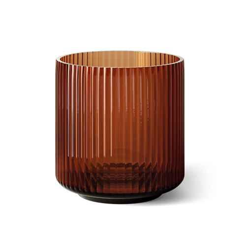 "5.5"" x 5.5"" Ribbed Glass Vase Amber - Threshold™"