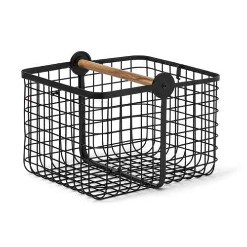 Metal 2-in-1 Wire Basket with Wood Handle Black - Project 62™