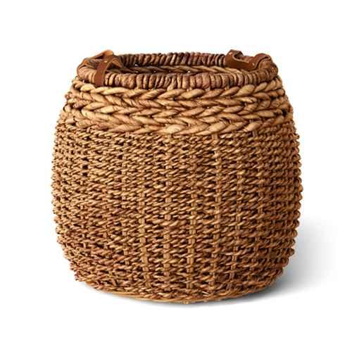 "14"" x 16"" Harvest Braided Banana Basket with Leather Handles - Threshold™"