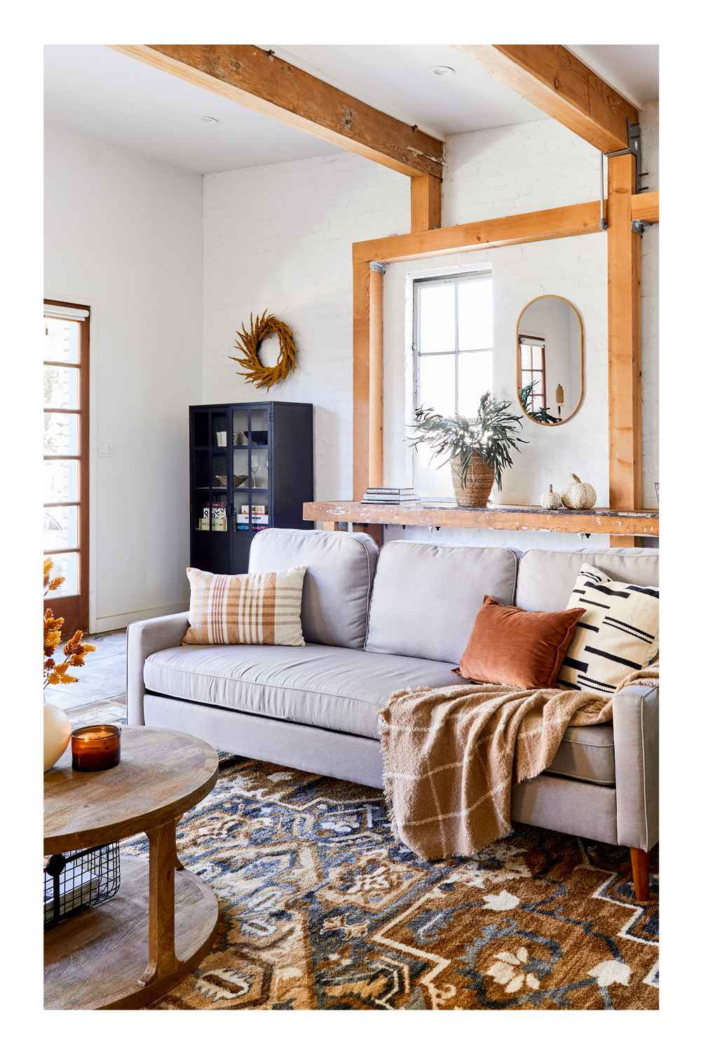 """5'x7' Printed Persian Geometric Design Tufted Area Rugs Gold - Threshold™, Castalia Round Natural Wood Coffee Table - Threshold™, 20"""" Artificial Goldenrod Wreath Yellow - Threshold™, Half Glass Display Cabinet Black - Threshold™, 13.5"""" x 10"""" Abaca Woven Harvest Vase Brown - Threshold™, 24"""" Preserved Willow Eucalyptus Stem Green - Threshold™, 14oz Lidded Amber Glass Jar Crackling Wooden 3-Wick Applewood and Amber Candle - Threshold™, 7"""" x 7"""" Earthenware Fall Edit Texture Vase White - Threshold™, 28"""" Artificial Hops Stem - Threshold™, Metal 2-in-1 Wire Basket with Wood Handle Black - Project 62™, Prescott Sectional Sofa Light Gray - Threshold™, Londonberry Turned Accent Table Large Black - Threshold™, 16pc Porcelain Woodbridge Dinnerware Set White - Threshold™, 4pk Marble and Wood Coasters Dark Gray - Threshold™, Woven Broken Striped Square Throw Pillow Cream/Black - Threshold™, Cotton Velvet Lumbar Throw Pillow Brown - Threshold™, Boucle Windowpane Plaid Throw Blanket Neutral - Threshold™, Oblong Woven Yarn Dye Plaid Decorative Throw Pillow Cream/Caramel - Threshold™, Small Wire Decorative Basket with Copper Handle - Threshold™, 7"""" x 7.8"""" Woven Corn Husk Pumpkin Figurine Cream - Threshold™, 5"""" x 4.7"""" Woven Corn Husk Pumpkin Figurine Cream - Threshold™, (Set of 2) 11"""" x 14"""" Oak Leaves Framed Wall Art - Threshold™, 16""""x28"""" Stamped Metal Mirror Brass - Project 62™, 4"""" x 10"""" Decorative Earthenware Bowl Black - Threshold™, 25oz Metal Leaf Serving Dish - Threshold™"""