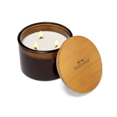 14oz Lidded Amber Glass Jar Crackling Wooden 3-Wick Applewood and Amber Candle - Threshold™
