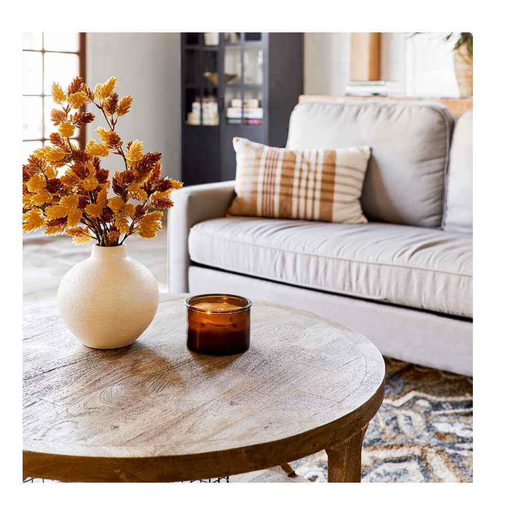 """5'x7' Printed Persian Geometric Design Tufted Area Rugs Gold - Threshold™, Castalia Round Natural Wood Coffee Table - Threshold™, 20"""" Artificial Goldenrod Wreath Yellow - Threshold™, Half Glass Display Cabinet Black - Threshold™, 13.5"""" x 10"""" Abaca Woven Harvest Vase Brown - Threshold™, 24"""" Preserved Willow Eucalyptus Stem Green - Threshold™, 14oz Lidded Amber Glass Jar Crackling Wooden 3-Wick Applewood and Amber Candle - Threshold™, 7"""" x 7"""" Earthenware Fall Edit Texture Vase White - Threshold™, 28"""" Artificial Hops Stem - Threshold™, Metal 2-in-1 Wire Basket with Wood Handle Black - Project 62™, Prescott Sectional Sofa Light Gray - Threshold™, Oblong Woven Yarn Dye Plaid Decorative Throw Pillow Cream/Caramel - Threshold™, Small Wire Decorative Basket with Copper Handle - Threshold™, 4"""" x 10"""" Decorative Earthenware Bowl Black - Threshold™, 16pc Porcelain Woodbridge Dinnerware Set White - Threshold™, 25oz Metal Leaf Serving Dish - Threshold™"""