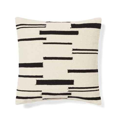 Woven Broken Striped Square Throw Pillow Cream/Black - Threshold™