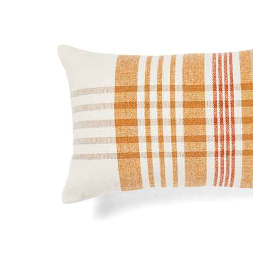 Oblong Woven Yarn Dye Plaid Decorative Throw Pillow Cream/Caramel - Threshold™