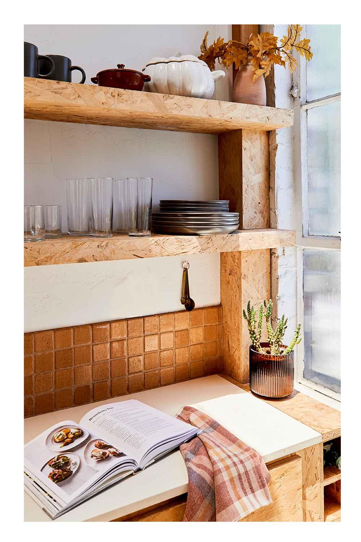 "16pc Stoneware Tilley Dinnerware Set Gray - Threshold™, 16oz Cast Iron Dutch Oven Brown - Threshold™, 84oz Stoneware Pumpkin Serving Dish - Threshold™, 14"" x 15"" Artificial Gold Oak Leaf Arrangement in Ceramic Pot - Threshold™, 4pc Stainless Steel Brass Finish Measuring Spoons - Threshold™, 5.5"" x 5.5"" Ribbed Glass Vase Amber - Threshold™, Plaid Harvest Hand Towel Red/Cream - Threshold™, Magnolia Table Volume 2 -  Joanna Gaines (Hardcover)"
