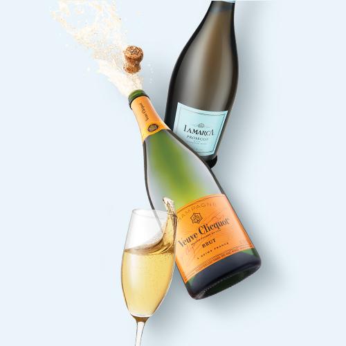La Marca Prosecco Sparkling Wine - 750ml Bottle, Veuve Clicquot Yellow Label Brut Champagne - 750ml Bottle