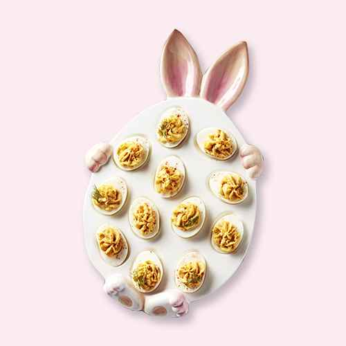 Lakeside Easter Bunny Deviled Eggs Appetizer Serving Platter - Holiday Dish Décor