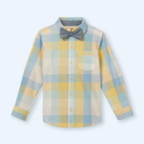 OshKosh B'gosh Toddler Boys' Plaid Woven Long Sleeve Button-Down Shirt & Bow Tie Set - Light Blue/Yellow 5T