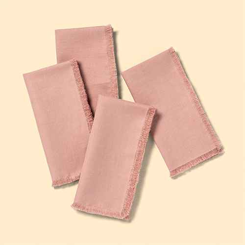 4pk Raw Edge Linen Blend Napkins Rose Gold - Hearth & Hand™ with Magnolia