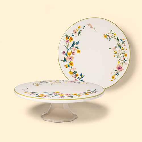 "11"" Stoneware Floral Cake Stand - Threshold™"