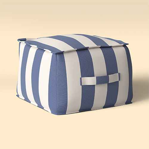 Cabana Stripe Outdoor Pouf Navy/Cream - Threshold™