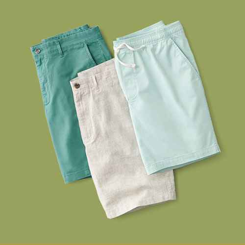 "Men's 9"" Linden Flat Front Shorts - Goodfellow & Co™ Dusky Green 32, Men's 9"" Slim fit Chino Shorts - Goodfellow & Co™ Beige 32, Men's 8"" Pull-On Shorts - Goodfellow & Co™ Green M"