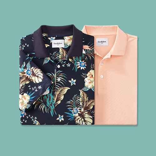Men's Animal Print Short Sleeve Performance Polo Shirt - Goodfellow & Co™ Navy/Bird M, Men's Short Sleeve Performance Polo Shirt - Goodfellow & Co™ Pink M