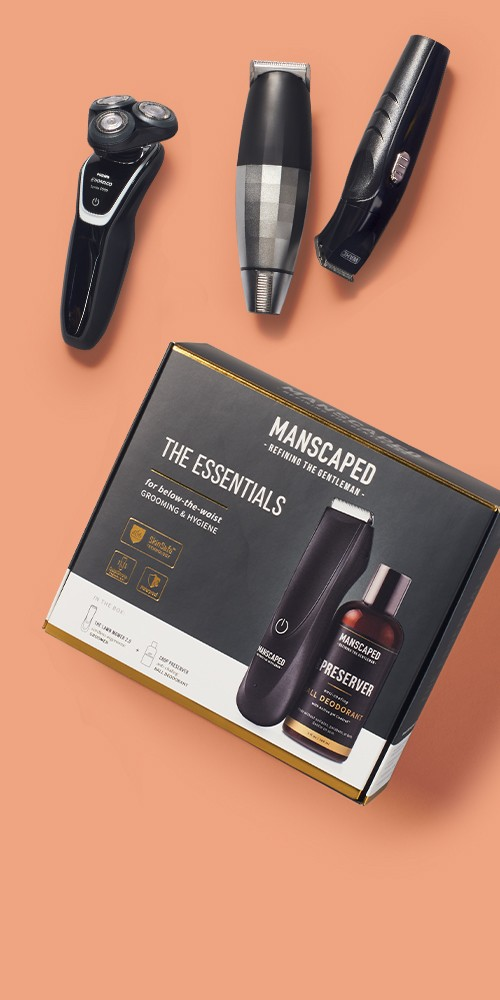 Manscaped Essentials Kit 2.0, Bevel Rechargeable Hair and Beard Trimmer, Philips Norelco Series 5100 Wet & Dry Men's Rechargeable Electric Shaver - S5210/81, Wahl All in One Rechargeable Cordless Men's Multi Purpose Trimmer and Total Body Groomer - 9685-200