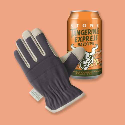S/M Duck Canvas Work Gloves Dark Gray - Smith & Hawken™, Stone Tangerine Express IPA Beer - 6pk/12 fl oz Cans