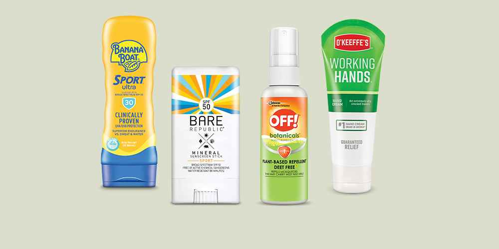 Banana Boat Ultra Sport Sunscreen Lotion - 8 fl oz, Bare Republic Mineral Sport Sunscreen Stick - SPF 50 - 0.5oz, OFF! Botanicals Plant-Based DEET Free Insect Repellent IV - 4 fl oz/1ct, O'Keeffe's Working Hands Hand Cream - 3oz