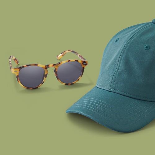 Men's Textured Nylon Baseball Hat - Goodfellow & Co™ Green, Men's Round Sunglasses - Goodfellow & Co™ Tan