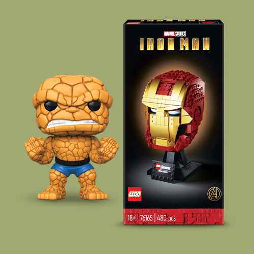 """Funko POP! Marvel: Fantastic Four - 10"""" The Thing (Target Exclusive), LEGO Marvel Avengers Iron Man Helmet Displayable Iron Man Mask for Marvel Fans 76165"""
