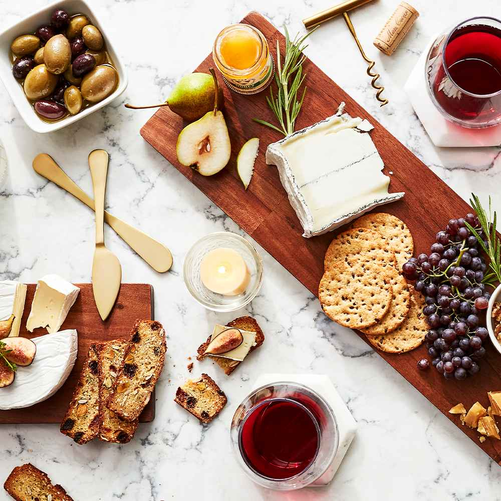 """4pc Stainless Steel Cheese Serving Set Gold - Threshold™, 10"""" x 5"""" Wooden Single Serve Mini Cheese Board - Threshold™, 10"""" Wood Cake Stand - Threshold™, 12"""" Wood Tall Cake Stand - Threshold™"""