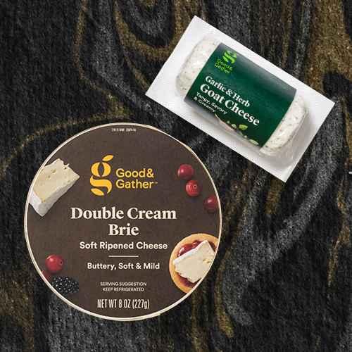 Double Cream Brie Soft Ripened Cheese Round - 8oz - Good & Gather™, Garlic & Herb Goat Cheese - 4oz - Good & Gather™