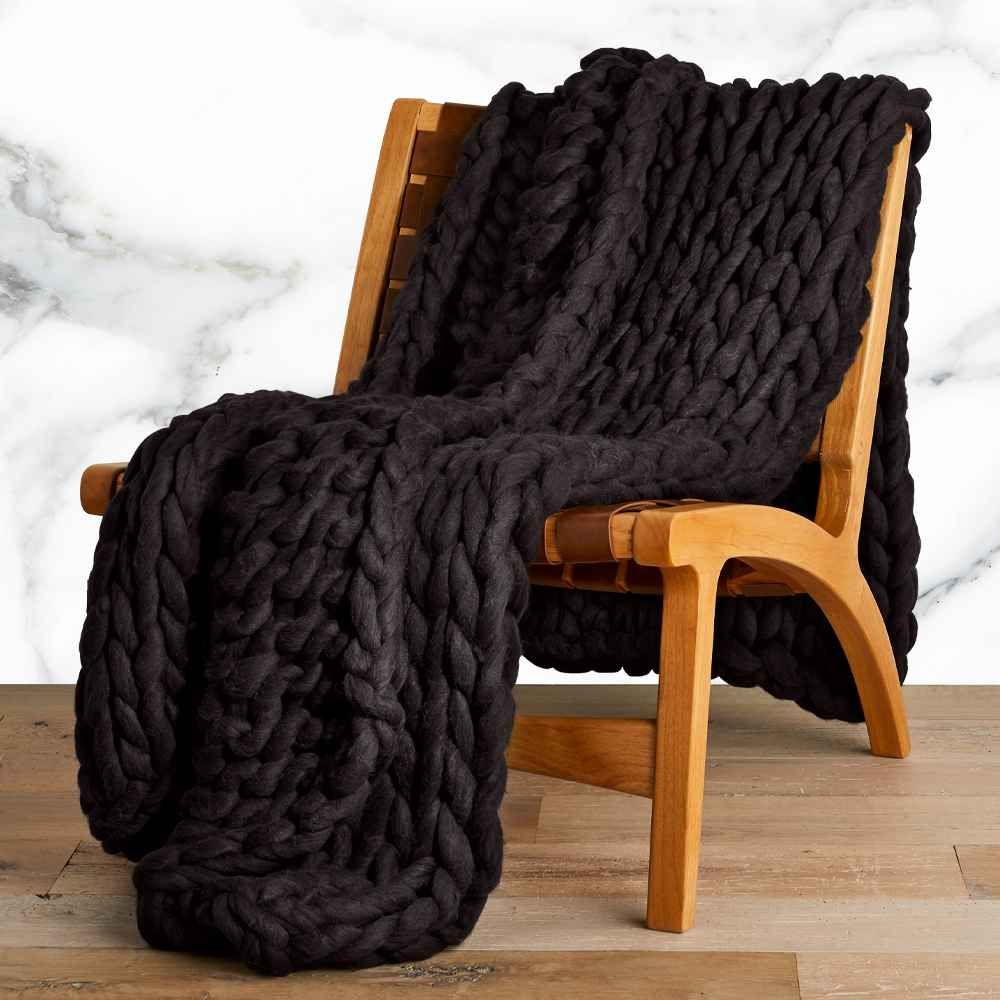 """50""""x70"""" Oversized Chunky Hand Knit Decorative Bed Throw Washed Black - Casaluna™"""