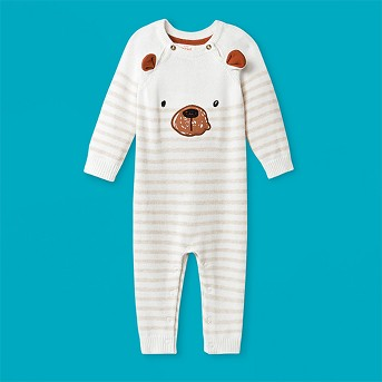 Baby Boys' Bear Romper - Cat & Jack™ Cream