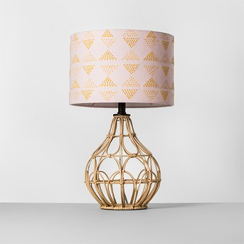 Rattan Table Lamp Pink Shade - Opalhouse™