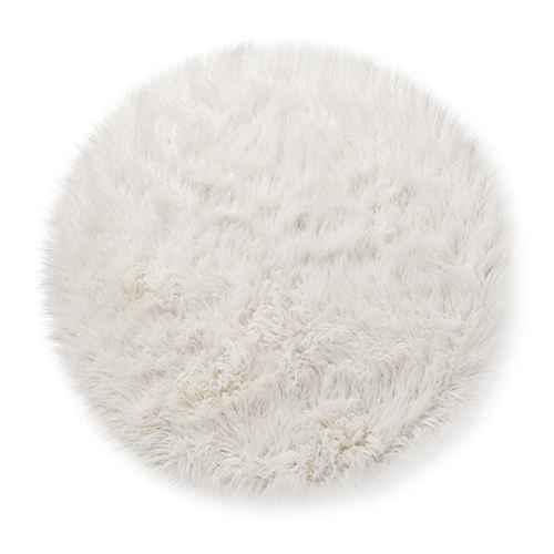 Faux Fur Round Rug White Pillowfort