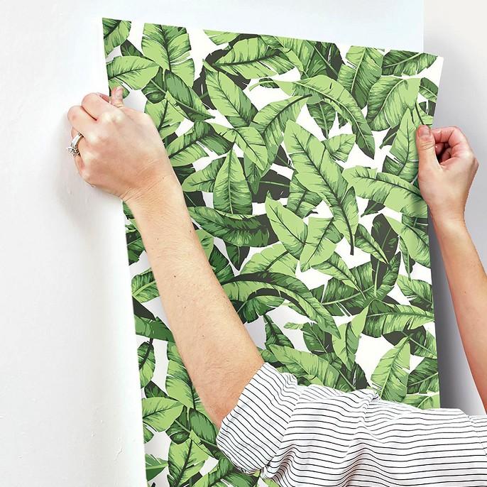 Palm Leaf Peel & Stick Wallpaper Green/White - RoomMates