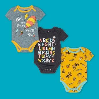 Baby 3pk Dr. Seuss Short Sleeve Bodysuits - Yellow/Gray