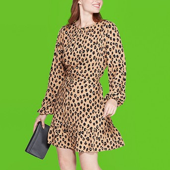 Women's Leopard Print Long Sleeve Round Neck Mini Crepe Dress - A New Day™ Brown