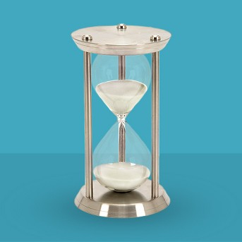 New Traditional Iron and Glass 60-Minute Hourglass (12