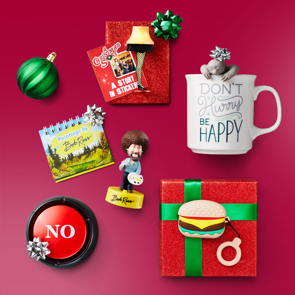 """""""Don't Worry Be Happy"""" Sloth Print Tea Mug, Insten Cute 3D Silicone Case For AirPods Pro, Hamburger Burger Cartoon Cover with Ring Strap, """"No""""Non-powered Desk Tools, Bob Ross Bobblehead : With Sound! -  (Toy), Solid Red Glitter Gift Wrap - Wondershop™, Mega Gift Bow Emerald Glitter - Wondershop™, Northlight 26ct 3-Finish Shatterproof Christmas Ornament Set 2.5"""" - Red/Green"""