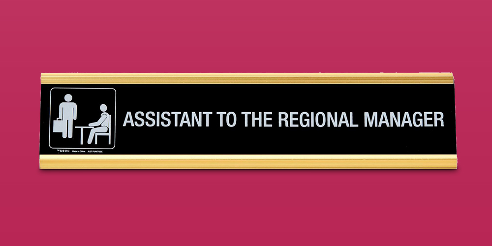 Just Funky The Office Assistant To The Regional Manager Desk Plate | Measures 10 x 2 Inches