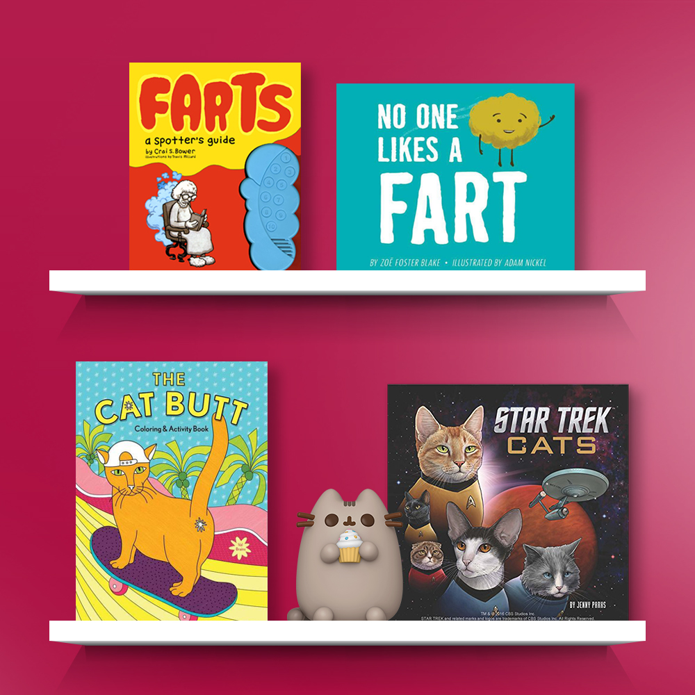 Farts (Board), No One Likes a Fart - by Zoe Foster Blake (Hardcover), The Cat Butt Coloring and Activity Book - by  Val Brains (Paperback), Funko POP! Pusheen - Pusheen w/Cupcake (Target Exclusive), Star Trek Cats - by  Jenny Parks (Hardcover)