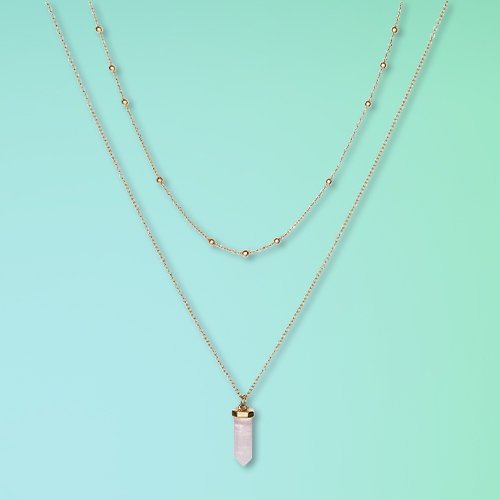 Semi-Precious Rose Quartz with Recycled Metal Chain Duo Necklace - Universal Thread™ Pink
