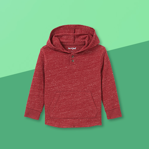 Toddler Boys' Waffle Knit Hooded Pullover Long Sleeve T-Shirt - Cat & Jack™ Burgundy 3T