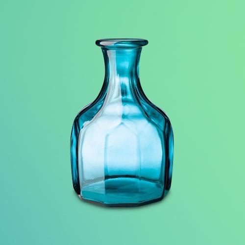 VivaTerra Zeta Geometric Recycled Glass Vase - Blue