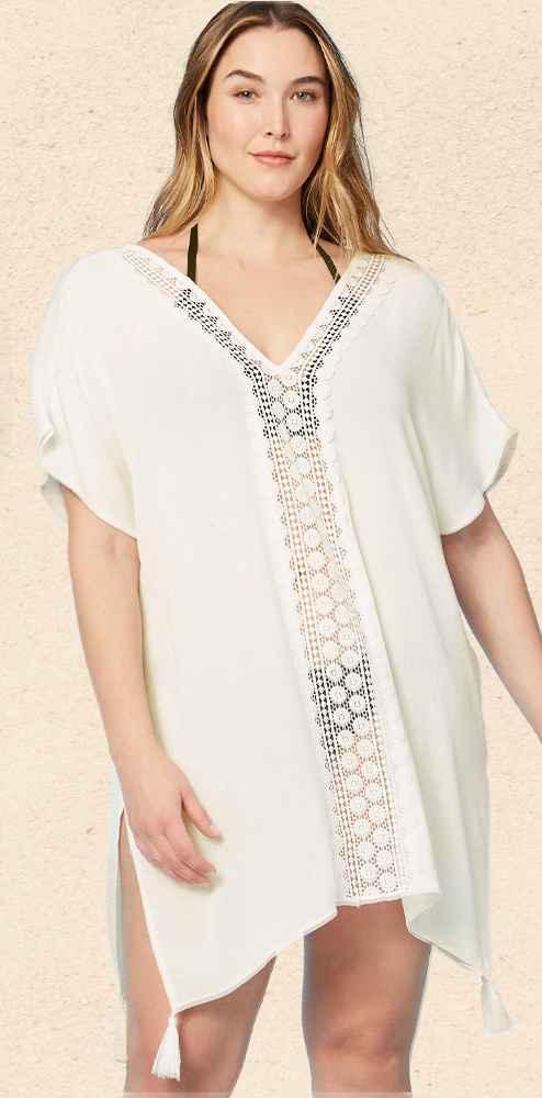 Women's Crochet Insert Cover Up Dress - Kona Sol™ White L