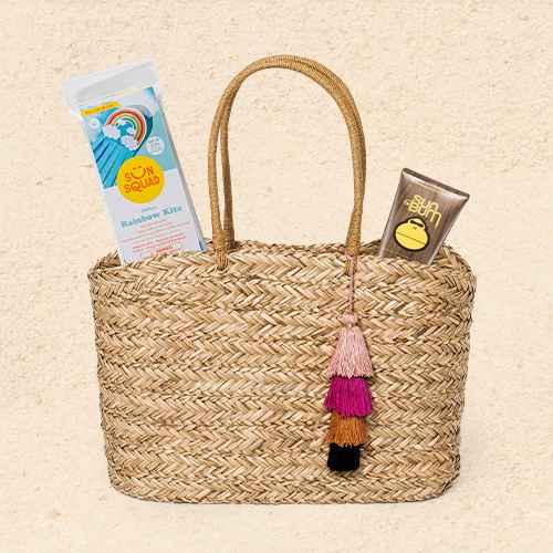 Straw Open Weave Tote Handbag - A New Day™ Natural, Mini Rainbow Kite - Sun Squad™, Sun Bum Original Sunscreen Lotion