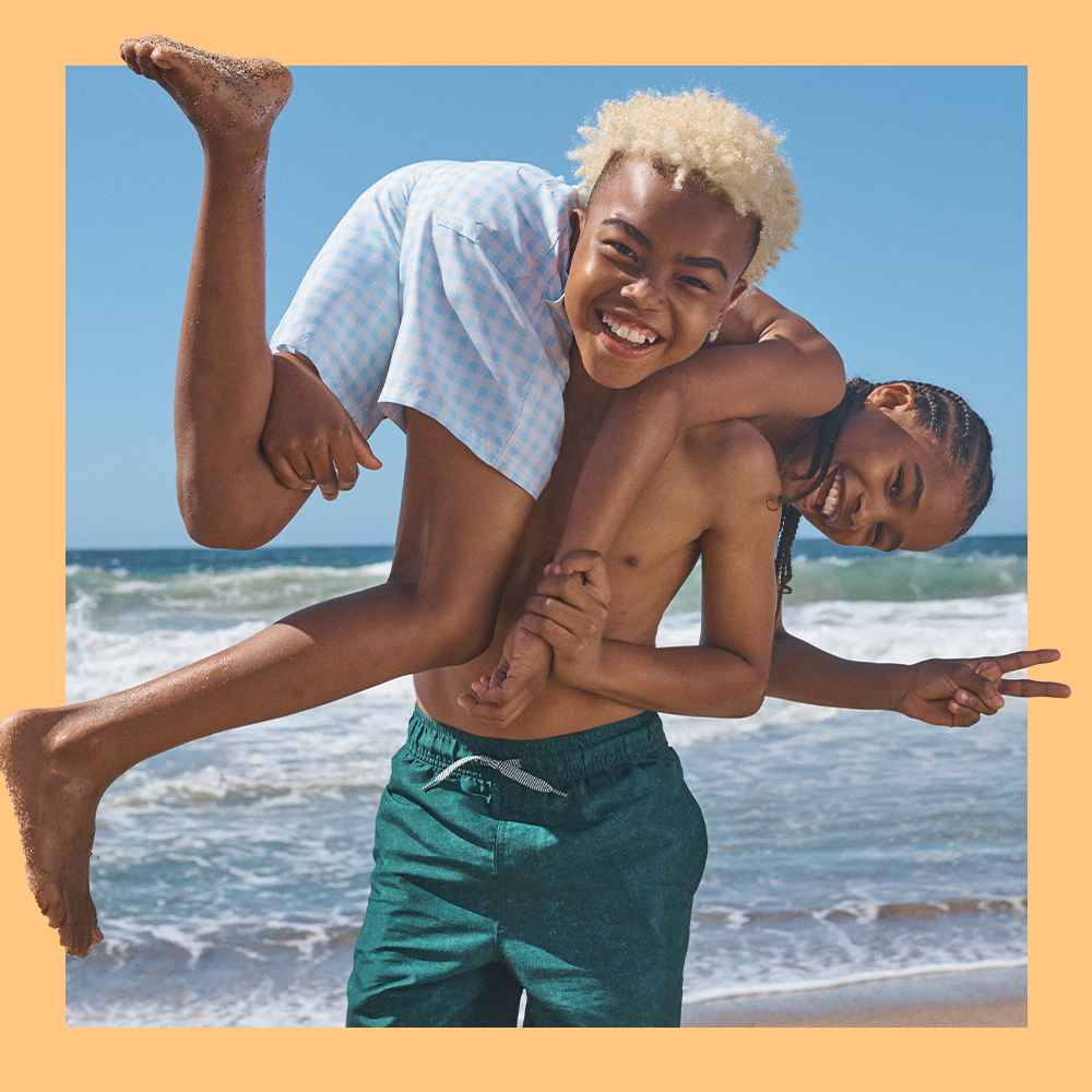 Boys' Seersucker with Anchor Swim Trunks - Cat & Jack™ White, Boys' Gingham Swim Shorts - Cat & Jack™ Blue, Boys' Solid Swim Shorts - Cat & Jack™ Dark Green