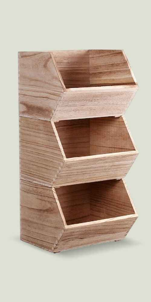 Stackable Wood Toy Storage Bin Natural - Pillowfort™