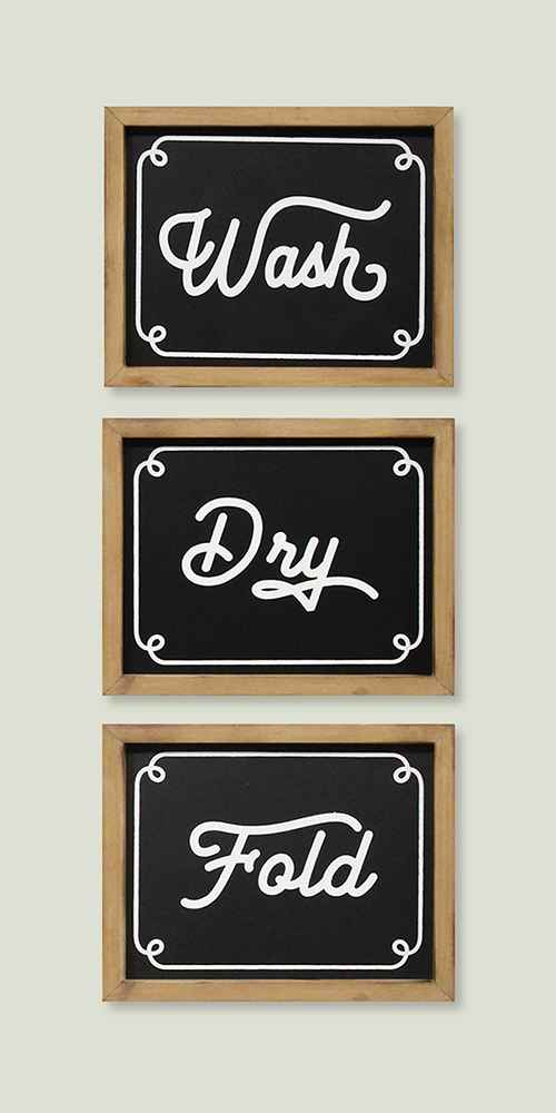 (Set of 3) Wash Dry Fold Wall Decor Black - Stratton Home Decor