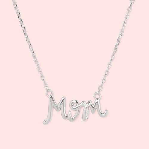 "Sterling Silver ""Mom"" Station Extender Necklace - Silver Gray"