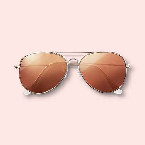 Women's Aviator Sunglasses with Rose Gold Lenses - Wild Fable™ Gold